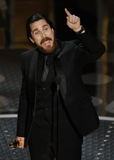 "<div class=""meta ""><span class=""caption-text "">Christian Bale accepts the Oscar for best performance by an actor in a supporting role for ""The Fighter"" at the 83rd Academy Awards on Sunday, Feb. 27, 2011, in the Hollywood section of Los Angeles.   (AP Photo/ Mark J. Terrill)</span></div>"