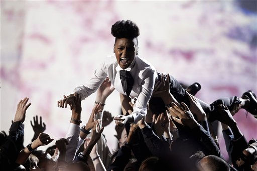 "<div class=""meta ""><span class=""caption-text "">Janelle Monae performs at the 53rd annual Grammy Awards on Sunday, Feb. 13, 2011, in Los Angeles.   (AP Photo/ Matt Sayles)</span></div>"