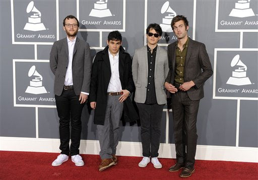 "<div class=""meta ""><span class=""caption-text "">Chris Baio, Rostam Batmanglij, Ezra Koenig, and Chris Tomson of the band Vampire Weekend arrive at the 53rd annual Grammy Awards on Sunday, Feb. 13, 2011, in Los Angeles. (AP Photo/Chris Pizzello) (AP Photo/ Chris Pizzello)</span></div>"