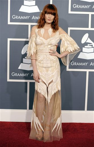 "<div class=""meta ""><span class=""caption-text "">Florence Welch, of the band Florence and the Machine, arrives at the 53rd annual Grammy Awards on Sunday, Feb. 13, 2011, in Los Angeles. (AP Photo/Chris Pizzello) (AP Photo/ Chris Pizzello)</span></div>"