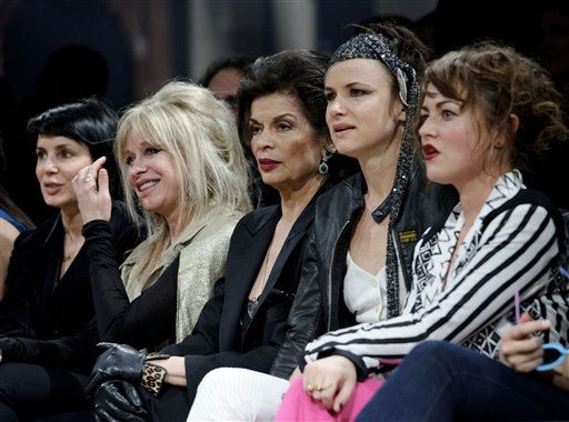 &#40;L-R&#41; Sadie Frost, Jo Wood,  Bianca Jagger, Juliette Lewis and Jaime Winstone watch the Julien Macdonald fashion show at London Fashion Week in London, Monday, Feb. 21, 2011. &#40;AP Photo&#47;Jonathan Short&#41; <span class=meta>(AP Photo&#47; Jonathan Short)</span>