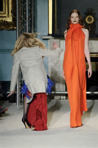 A model lose her balance as models present outfits by Roksanda Ilincic at London Fashion Week in London, Tuesday, Feb. 22, 2011. &#40;AP Photo&#47;Jonathan Short&#41; <span class=meta>(AP Photo&#47; Jonathan Short)</span>
