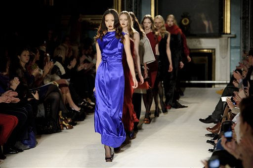 Models present outfits by Roksanda Ilincic at London Fashion Week in London, Tuesday, Feb. 22, 2011. &#40;AP Photo&#47;Jonathan Short&#41; <span class=meta>(AP Photo&#47; Jonathan Short)</span>