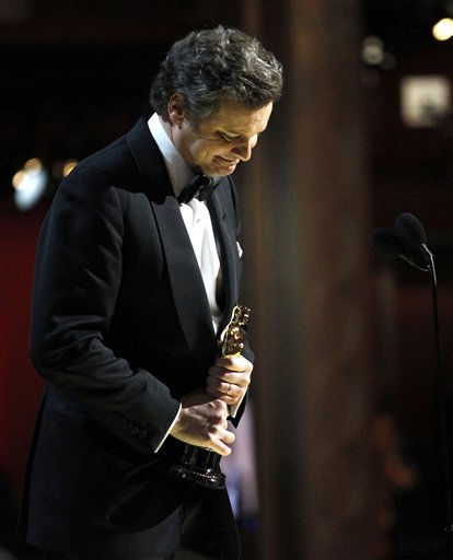 "<div class=""meta ""><span class=""caption-text "">Colin Firth accepts the Oscar for best performance by an actor in a leading role for ""The King's Speech"" at the 83rd Academy Awards on Sunday, Feb. 27, 2011, in the Hollywood section of Los Angeles.   (AP Photo/ Chris Carlson)</span></div>"