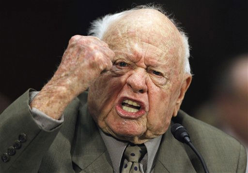 Entertainer Mickey Rooney testifies on Capitol Hill in Washington, Wednesday, March 2, 2011, about elder abuse, before the Senate Aging Committee.   <span class=meta>(AP Photo&#47; Alex Brandon)</span>