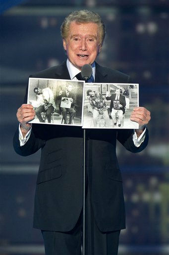 "<div class=""meta ""><span class=""caption-text "">Regis Philbin accepts the ""Legend Award"" on stage during the 2011 TV Land Awards show on Sunday, April 10, 2011 in New York. Philbin is one of the celebrities rumored to in the cast of season 13 of 'Dancing with the Stars' which premieres September 19 at 7pm on ABC13. (AP Photo/Charles Sykes)</span></div>"
