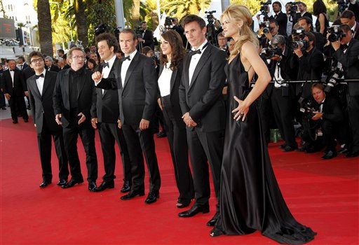 From left, producer Thomas Langmann, cinematographer Guillaume Schiffman, unidentified guest, actor Jean Dujardin, Berenice Bejo, director Michel Hazanavicius and actress Missi Pyle arrive for the screening of The Artist at the 64th international film festival, in Cannes, southern France, Sunday, May 15, 2011. &#40;AP Photo&#47;Lionel Cironneau&#41; <span class=meta>(Photo&#47;Lionel Cironneau)</span>