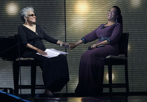 "<div class=""meta image-caption""><div class=""origin-logo origin-image ""><span></span></div><span class=""caption-text"">Maya Angelou, left, and Oprah Winfrey share laughs during a star-studded double-taping of ""Surprise Oprah! A Farewell Spectacular,"" Tuesday, May 17, 2011, in Chicago. ""The Oprah Winfrey Show"" is ending its run May 25, after 25 years, and millions of her fans around the globe are waiting to see how she will close out a show that spawned a media empire.   (AP Photo/ Charles Rex Arbogast)</span></div>"