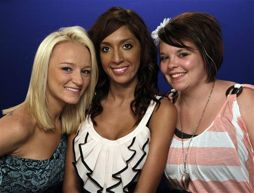 Maci Bookout, left, Farrah Abrahams, center,  and Catelynn Lowell of MTV&#39;s &#34;Teen Mom,&#34; pose for photos in New York, Monday, June 27, 2011. Bookout  is one of the celebrities rumored to in the cast of season 13 of &#39;Dancing with the Stars&#39; which premieres September 19 at 7pm on ABC13. <span class=meta>(AP Photo&#47; Richard Drew)</span>
