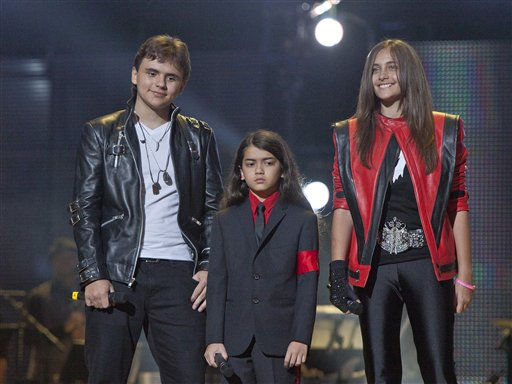"<div class=""meta ""><span class=""caption-text "">From left, Prince Jackson, Prince Michael II 'Blanket' Jackson and Paris Jackson arrive on stage at the Michael Forever the Tribute Concert, at the Millennium Stadium in Cardiff, Saturday, Oct. 8, 2011. (AP Photo/Joel Ryan) *Editorial Use Only* (AP Photo/ Joel Ryan)</span></div>"