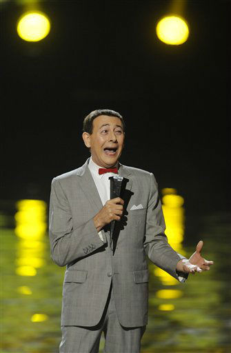 Paul Reubens, in character as Pee-wee Herman, addresses the audience after receiving the Visionary Award at the 2011 Scream Awards, Saturday, Oct. 15, 2011, in Los Angeles. He is one of the celebrities rumored to be dancing on the 14th season of &#39;Dancing with the Stars&#39; on ABC. The official cast will be revealed on February 28 on ABC. <span class=meta>(AP Photo&#47; Chris Pizzello)</span>