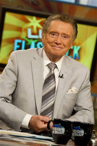 "<div class=""meta image-caption""><div class=""origin-logo origin-image ""><span></span></div><span class=""caption-text"">In this Oct. 28, 2011 photo, long-time talk show host Regis Philbin appears on set during a broadcast of ""Live! with Regis and Kelly"", in New York. The co-host who made performance art of TV gab is one of the celebrities rumored to be dancing on the 14th season of 'Dancing with the Stars' on ABC. The official cast will be revealed on February 28 on ABC. (AP Photo/ Charles Sykes)</span></div>"
