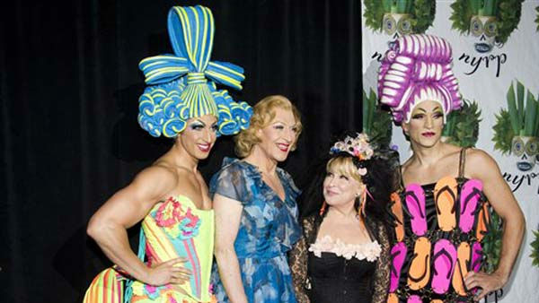 Bette Midler, second from right, poses with cast members from the Broadway show &#34;Priscilla, Queen of the Desert&#34; at her Hulaween gala benefit for the New York Restoration Project, in New York, Friday, Oct. 28, 2011. &#40;AP Photo&#47;Charles Sykes&#41; <span class=meta>(AP Photo&#47; Charles Sykes)</span>