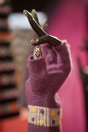 Artificial fingernails and a glove are displayed at Gaga&#39;s Workshop, a collaborative fashion and lifestyle project between Lady Gaga and Barney&#39;s New York, at the Barney&#39;s store on East 60th Street in New York on Monday, Nov. 21, 2011. &#40;AP Photo&#47;Andrew Burton&#41; <span class=meta>(AP Photo&#47; Andrew Burton)</span>