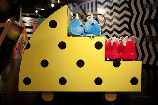 Plush animals are displayed at Gaga&#39;s Workshop, a collaborative fashion and lifestyle project between Lady Gaga and Barney&#39;s New York, at the Barney&#39;s store on East 60th Street in New York on Monday, Nov. 21, 2011. &#40;AP Photo&#47;Andrew Burton&#41; <span class=meta>(AP Photo&#47; Andrew Burton)</span>