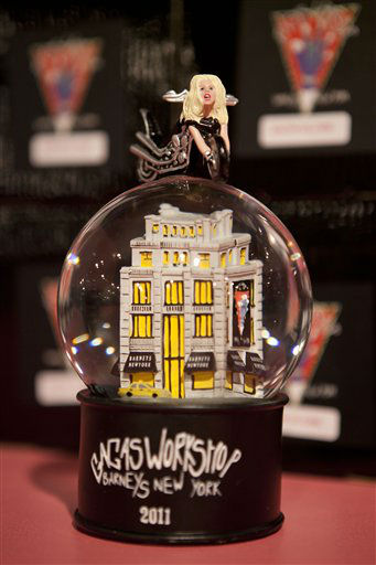 "<div class=""meta image-caption""><div class=""origin-logo origin-image ""><span></span></div><span class=""caption-text"">A snow globe is displayed at Gaga's Workshop, a collaborative fashion and lifestyle project between Lady Gaga and Barney's New York, at the Barney's store on East 60th Street in New York on Monday, Nov. 21, 2011. (AP Photo/Andrew Burton) (AP Photo/ Andrew Burton)</span></div>"