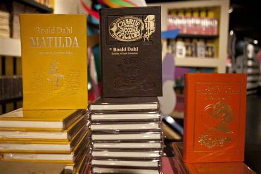 Books by Roald Dahl are displayed at Gaga&#39;s Workshop, a collaborative fashion and lifestyle project between Lady Gaga and Barney&#39;s New York, at the Barney&#39;s store on East 60th Street in New York on Monday, Nov. 21, 2011. &#40;AP Photo&#47;Andrew Burton&#41; <span class=meta>(AP Photo&#47; Andrew Burton)</span>