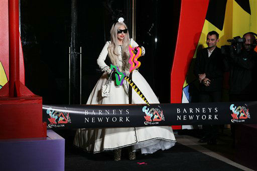 Singer Lady Gaga appears at a ribbon cutting ceremony to launch Gaga&#39;s Workshop, a holiday retail experience representing Lady Gaga`s reinterpretation of Santa&#39;s workshop at Barneys department store in New York, Monday, Nov. 21, 2011.  A portion of the sales from Gaga&#39;s Workshop will be donated to the Born This Way Foundation. &#40;AP Photo&#47;StarPix, Amanda Schwab&#41; <span class=meta>(AP Photo&#47; Amanda Schwab)</span>