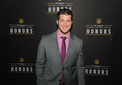 Denver Broncos Tim Tebow is seen backstage during the inaugural NFL Honors show Saturday, Feb. 4, 2012, in Indianapolis. He is one of the celebrities rumored to be dancing on the 14th season of &#39;Dancing with the Stars&#39; on ABC. The official cast will be revealed on February 28 on ABC. <span class=meta>(Photo&#47;Newman Lowrance)</span>