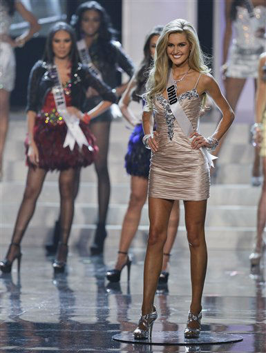 "<div class=""meta ""><span class=""caption-text "">Miss Ohio Audrey Bolte, walks along the stage after being announced as one of 16 finalists during the 2012 Miss USA pageant, Sunday, June 3, 2012, in Las Vegas. (AP Photo/Julie Jacobson) (AP Photo/ Julie Jacobson)</span></div>"
