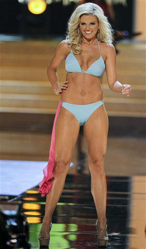 Miss Arkansas Kelsey Dow takes part in the swimsuit competition during the 2012 Miss USA pageant, Sunday, June 3, 2012, in Las Vegas. &#40;AP Photo&#47;Julie Jacobson&#41; <span class=meta>(AP Photo&#47; Julie Jacobson)</span>