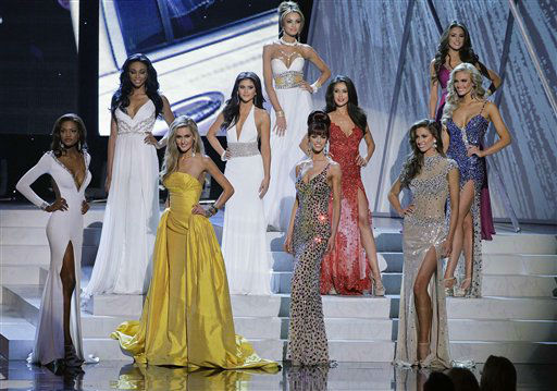 The top 10 finalists pose in their evening gowns during the 2012 Miss USA pageant, Sunday, June 3, 2012, in Las Vegas. &#40;AP Photo&#47;Julie Jacobson&#41; <span class=meta>(AP Photo&#47; Julie Jacobson)</span>