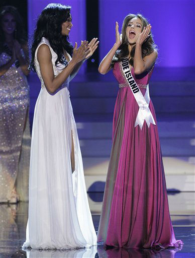 Miss Rhode Island Olivia Culpo reacts after being announced the 2012 Miss USA, as Miss Maryland Nana Meriwether applauds during the Miss USA pageant, Sunday, June 3, 2012, in Las Vegas. &#40;AP Photo&#47;Julie Jacobson&#41; <span class=meta>(AP Photo&#47; Julie Jacobson)</span>
