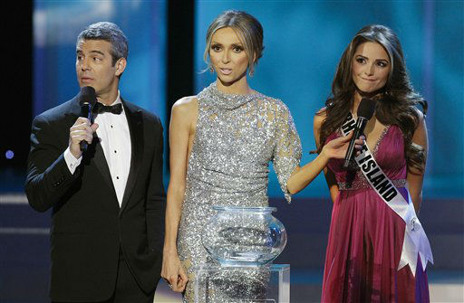 Andy Cohen, from left, Giuliana Rancic and  Miss Rhode Island Olivia Culpo listen to a question about transgender pageant contestants during the 2012 Miss USA pageant, Sunday, June 3, 2012, in Las Vegas. &#40;AP Photo&#47;Julie Jacobson&#41; <span class=meta>(AP Photo&#47; Julie Jacobson)</span>