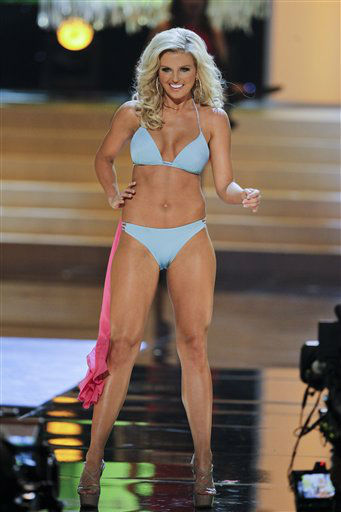 Miss Arkansas Kelsey Dow competes in the swimsuit portion during the 2012 Miss USA pageant, Sunday, June 3, 2012, in Las Vegas. &#40;AP Photo&#47;Julie Jacobson&#41; <span class=meta>(AP Photo&#47; Julie Jacobson)</span>