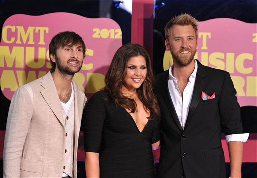 "<div class=""meta image-caption""><div class=""origin-logo origin-image ""><span></span></div><span class=""caption-text"">From left, musicians Dave Haywood, Hillary Scott and Charles Kelley of Lady Antebellum arrive at the 2012 CMT Music Awards on Wednesday, June 6, 2012 in Nashville, Tenn. (Photo by John Shearer/Invision/AP) (Photo/John Shearer)</span></div>"