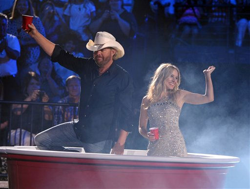 "<div class=""meta ""><span class=""caption-text "">Hosts Toby Keith, left, and Kristen Bell appear onstage at the 2012 CMT Music Awards on Wednesday, June 6, 2012 in Nashville, Tenn. (Photo by John Shearer/Invision/AP) (Photo/John Shearer)</span></div>"