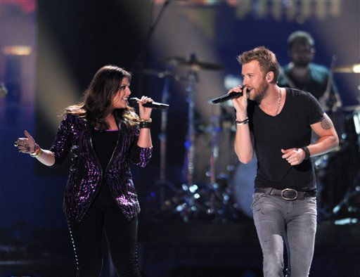 "<div class=""meta ""><span class=""caption-text "">Hillary Scott, left and Charles Kelley perform at the 2012 CMT Music Awards on Wednesday, June 6, 2012 in Nashville, Tenn. (Photo by John Shearer/Invision/AP) (Photo/John Shearer)</span></div>"