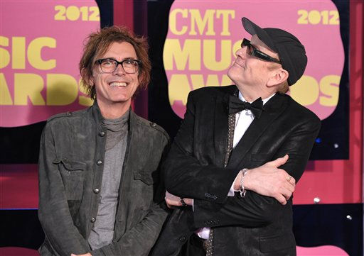 Tom Petersson, left, and Rick Nielsen of Cheap Trick arrive at the 2012 CMT Music Awards on Wednesday, June 6, 2012 in Nashville, Tenn. (Photo by John Shearer/Invision/AP)