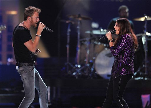 Hillary Scott, left, and Charles Kelley of Lady Antebellum perform at the 2012 CMT Music Awards on Wednesday, June 6, 2012 in Nashville, Tenn.