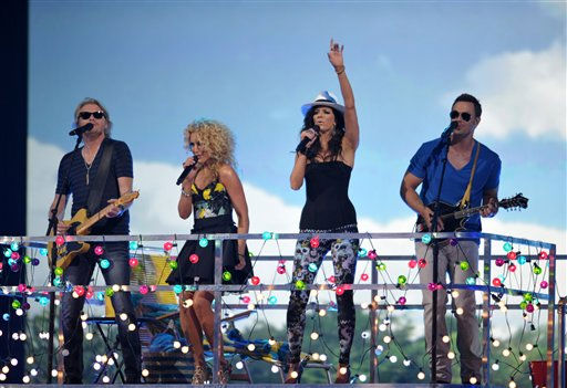 From left, Phillip Sweet, Kimberly Schlapman, Karen Fairchild and Jimi Westbrook of Little Big Town perform at the 2012 CMT Music Awards on Wednesday, June 6, 2012 in Nashville, Tenn.