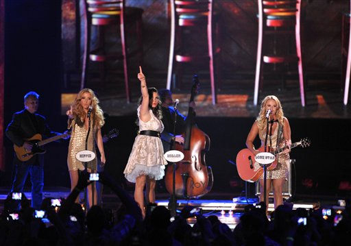 "<div class=""meta ""><span class=""caption-text "">From left, Ashley Monroe, Angaleena Presley and Miranda Lambert of Pistol Annies perform at the 2012 CMT Music Awards on Wednesday, June 6, 2012 in Nashville, Tenn. </span></div>"
