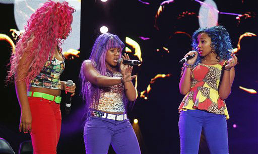 The OMG Girls perform at the Essence Music Festival in New Orleans, Thursday, July 5, 2012. This is the first day of the four day music festival. From left to right, Bahja Rodriquez, Breaunna Womak, Zonnique Pullins.&#40;Photo by Bill Haber&#47;Invision&#47;AP&#41; <span class=meta>(Photo&#47;Bill Haber)</span>