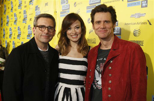 In this photo provided by Warner Bros., Steve Carell, Olivia Wilde, and Jim Carrey arrive at the world premiere of New Line Cinema&#39;s &#34;The Incredible Burt Wonderstone&#34;, a Warner Bros. Pictures release, on the opening night of the SXSW Film Festival on Friday, March 8, 2013 in Austin, Texas.  <span class=meta>(AP Photo&#47; Jack Plunkett)</span>
