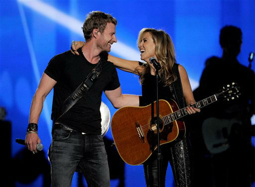 Dierks Bentley, left, and Sheryl Crow perform on stage at the 49th annual Academy of Country Music Awards at the MGM Grand Garden Arena on Sunday, April 6, 2014, in Las Vegas. &#40;Photo by Chris Pizzello&#47;Invision&#47;AP&#41; <span class=meta>(Photo&#47;Chris Pizzello)</span>