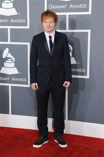 "<div class=""meta ""><span class=""caption-text "">Musician Ed Sheeran arrives at the 55th annual Grammy Awards on Sunday, Feb. 10, 2013, in Los Angeles.  (AP photo)</span></div>"