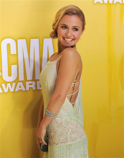 "<div class=""meta ""><span class=""caption-text "">Hayden Panettiere arrives at the 46th Annual Country Music Awards at the Bridgestone Arena on Thursday, Nov. 1, 2012, in Nashville, Tenn.   (Photo/Chris Pizzello)</span></div>"