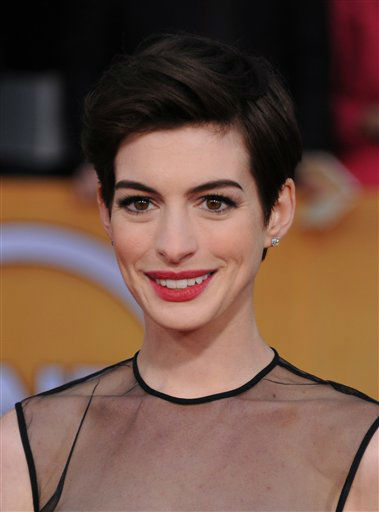 Anne Hathaway arrives at the 19th Annual Screen Actors Guild Awards at the Shrine Auditorium in Los Angeles on Sunday Jan. 27, 2013.   <span class=meta>(Photo&#47;Jordan Strauss)</span>