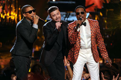 "<div class=""meta ""><span class=""caption-text "">From left, Pharrell Williams, Justin Timberlake and Charlie Wilson perform onstage at the BET Awards at the Nokia Theatre on Sunday, June 30, 2013, in Los Angeles. (Photo by Frank Micelotta/Invision/AP) (AP Photo/ Frank Micelotta)</span></div>"
