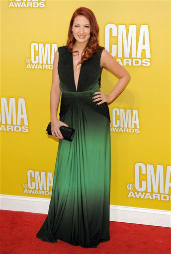 "<div class=""meta ""><span class=""caption-text "">Katie Armiger arrives at the 46th Annual Country Music Awards at the Bridgestone Arena on Thursday, Nov. 1, 2012, in Nashville, Tenn.   (Photo/Chris Pizzello)</span></div>"