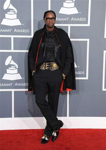 "<div class=""meta image-caption""><div class=""origin-logo origin-image ""><span></span></div><span class=""caption-text"">Rap artist 2 Chainz arrives at the 55th annual Grammy Awards on Sunday, Feb. 10, 2013, in Los Angeles.  (AP photo)</span></div>"