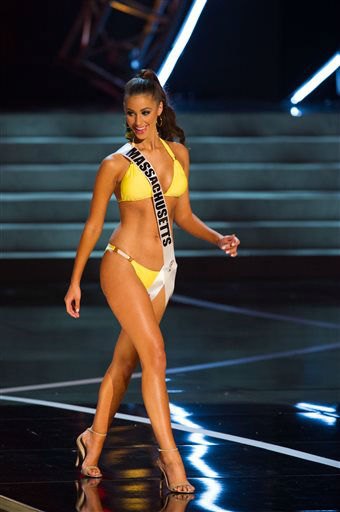 "<div class=""meta image-caption""><div class=""origin-logo origin-image ""><span></span></div><span class=""caption-text"">In this photo provided by the Miss Universe Organization,  Miss Massachusetts USA 2013, Sarah Kidd,  competes in her swimsuit during the  2013 Miss USA Competition Preliminary Show in Las Vegas on Wednesday June 12, 2013.   She will compete for the title of Miss USA 2013 and the coveted Miss USA Diamond Nexus Crown on June 16, 2013.    (AP Photo/ Darren Decker)</span></div>"