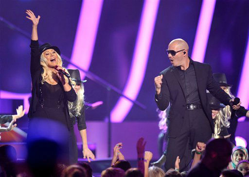 Christina Aguilera and Pitbull perform at the 26th annual Nickelodeon&#39;s Kids&#39; Choice Awards on Saturday, March 23, 2013, in Los Angeles. <span class=meta>(AP photo)</span>