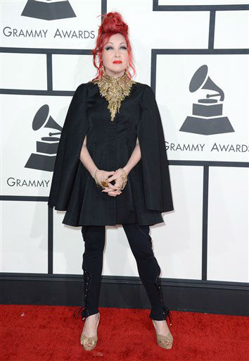 Cyndi Lauper arrives at the GRAMMY Awards in Los Angeles