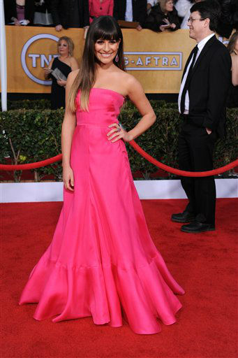 "<div class=""meta ""><span class=""caption-text "">Actress Lea Michele arrives at the 19th Annual Screen Actors Guild Awards at the Shrine Auditorium in Los Angeles on Sunday, Jan. 27, 2013.  (Photo/Jordan Strauss)</span></div>"