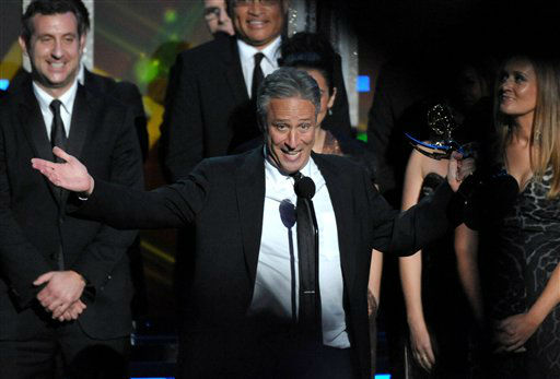 "<div class=""meta ""><span class=""caption-text "">Jon Stewart accepts the award for Outstanding Variety Series for ""The Daily Show with Jon Stewart"" at the 64th Primetime Emmy Awards at the Nokia Theatre on Sunday, Sept. 23, 2012, in Los Angeles. (Photo by John Shearer/Invision/AP) (Photo/John Shearer)</span></div>"